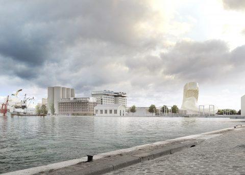 Vue du projet hôtelier H3 Bordeaux Suitcase Hospitality et le Bassin à Flots de Bordeaux