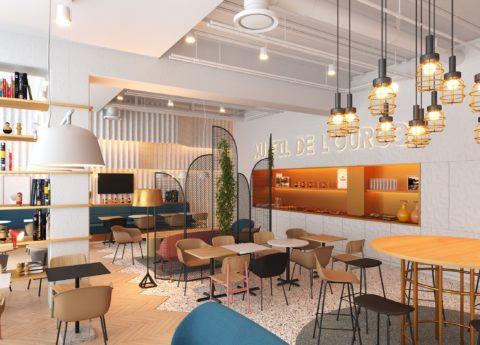 Perspective du salon de l'hôtel 4 étoiles Suitcase Hospitality à Romainville (93)