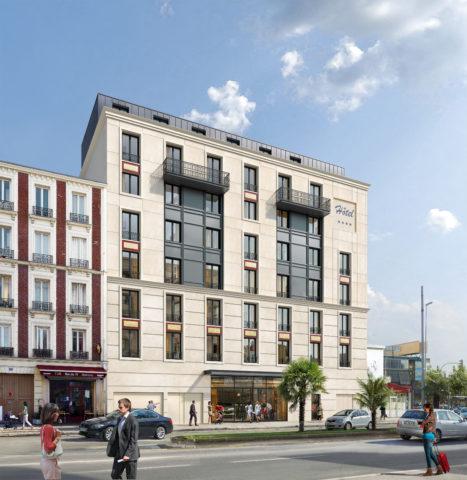Perspective - Vue façade avec enseigne - du projet hôtelier sur Saint-Ouen